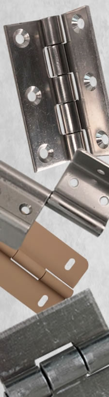 Collage of hinges in different materials